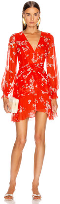 Nicholas Floral Pintuck Long Sleeve Mini Dress in Scarlet Multi | FWRD