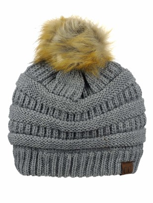 NYFASHION101 Exclusive Soft Stretch Cable Knit Faux Fur Pom Pom Beanie Hat - Light Melange Gray