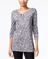 Kensie Space-Dyed Henley Top
