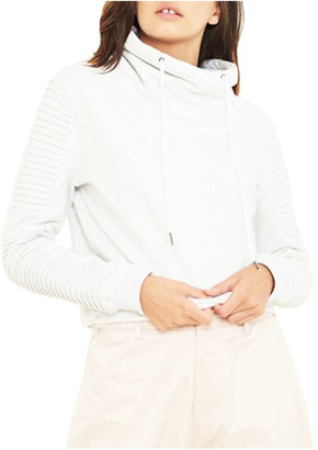 nANA jUDY Adeline Funnel Neck Crop Sweater With Pin-Tuck Sleeve