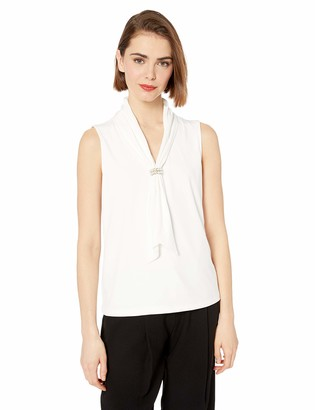 Karl Lagerfeld Paris Women's Sleeveless Tied Blouse with Pearl Detail