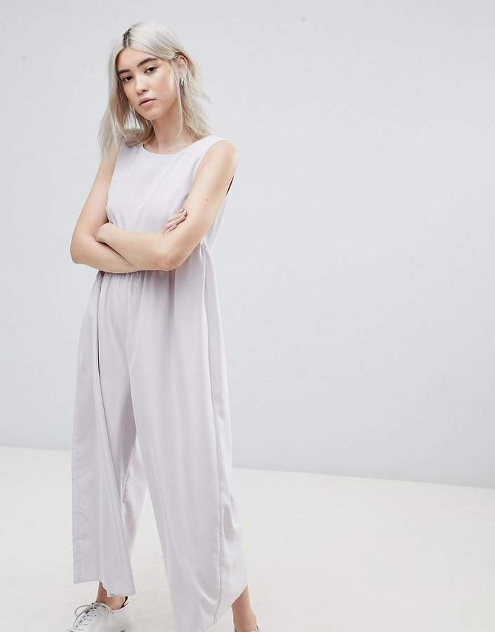 Asos Design DESIGN Minimal Jumpsuit with Gathered Waist and Wide Leg