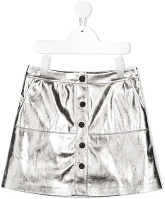Msgm Kids Metallic Effect Faux-Leather Skirt