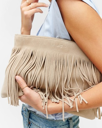 7 For All Mankind Fringed Suede Clutch