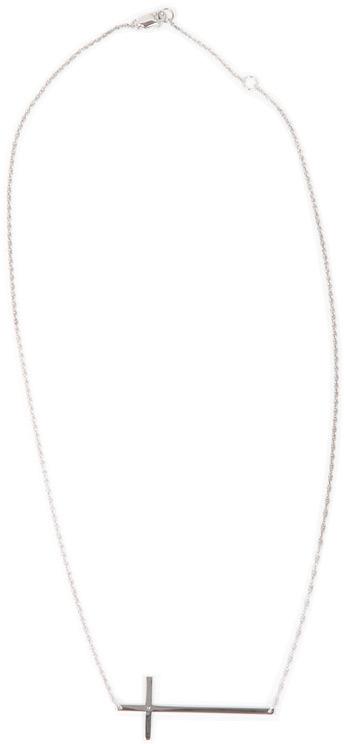 Jennifer Zeuner Jewelry Julia Horizontal Thin Cross Necklace with Diamond in Silver