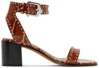Givenchy Brown Croc Studded Elegant Sandals
