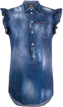 DSQUARED2 Frilled Sleeveless Denim Dress