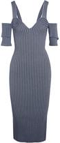 Victoria Beckham Cold-shoulder Ribbed Stretch-knit Dress - 2