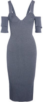 Victoria Beckham Cold-shoulder Ribbed Stretch-knit Dress - Storm blue
