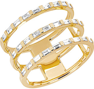 Ef Collection 14K 0.33 Ct. Tw. Diamond Baguette Triple Spiral Ring