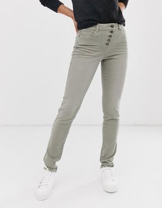 Esprit exposed 5 button skinny jean in khaki-Green
