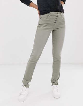 Esprit exposed 5 button skinny jean in khaki
