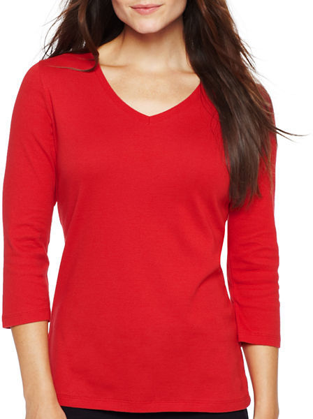 JCPenney Made for Life 3/4-Sleeve V-Neck Tee