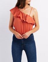 Charlotte Russe One-Shoulder Ruffle-Trim Bodysuit