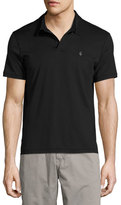 John Varvatos Soft-Collar Peace-Sign Polo Shirt, Black