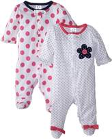 Gerber Baby-Girls Zip Front Sleep 'N Play, Flowers, 3-6 Months (Pack of 2)