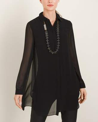 Chico's Chicos Sheer Lace-Inset Black Button-Down Tunic