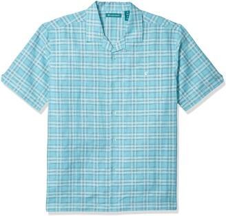 Cubavera Men's One Pocket Windowpane Camp Collar Shirt