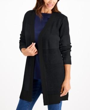 Karen Scott Textured Open-Front Cardigan, Created for Macy's