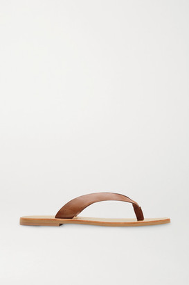 ST. AGNI Net Sustain Basik Leather Flip Flops - Tan