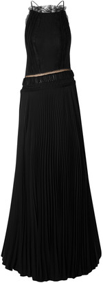 Jason Wu Collection Lace-trimmed Open-back Pleated Silk-georgette Gown