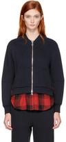3.1 Phillip Lim Navy Double Layer Zip Sweater