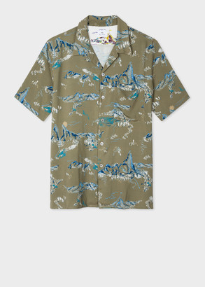 Paul Smith Men's Classic-Fit Green 'Mountain' Print Short-Sleeve Shirt