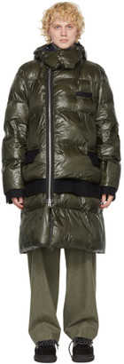 Sacai Khaki Nylon and Melton Wool Coat