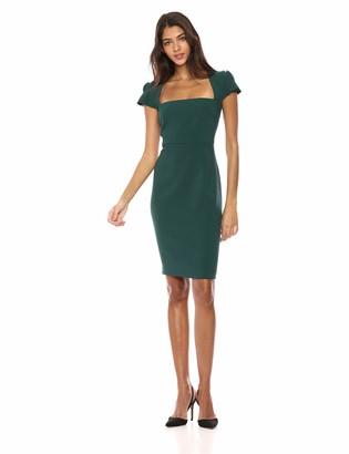 Lark & Ro Amazon Brand Women's Pleated Ruffle Detail Cap Sleeve Square Neckline Sheath Dress