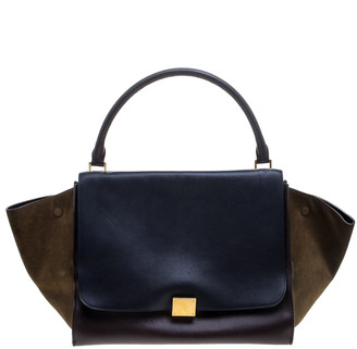 Celine Tri Color Leather and Suede Large Trapeze Bag