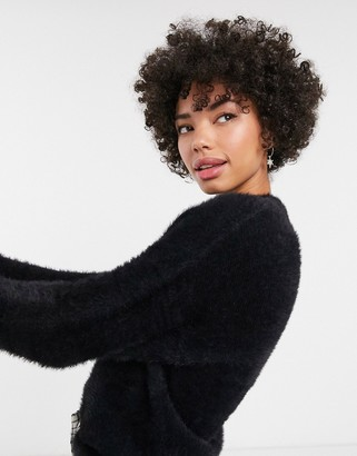 Monki crew neck textured oversized jumper in black