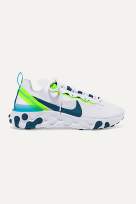 Nike React Element 55 Neon Neoprene, Faux Leather And Mesh Sneakers - Gray