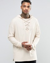 Asos Oversized Longline Long Sleeve T-Shirt With Lace up Hood In Off White