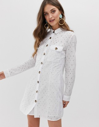 Stradivarius broderie shirt dress in white