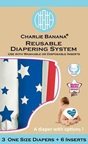 Charlie Banana 2-in-1 Reusable Diapering System, 3 Diapers Plus 6 Inserts, Americano, One Size by