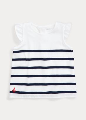 Ralph Lauren Striped Flutter-Sleeve Top
