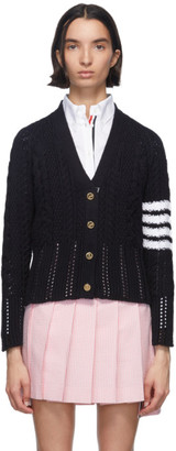 Thom Browne Navy Aran Cable 4-Bar Cardigan