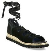Sacai Leather Espadrille Wrap Sandals