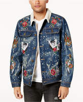 Reason Men's Embroidered Fleece-Lined Denim Jacket