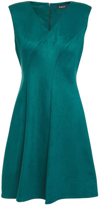DKNY Flared Faux Stretch-suede Dress