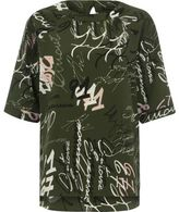 River Island Womens Green crepe word print T-shirt