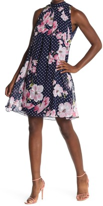 Robbie Bee Floral Polka Dot Swing Dress