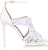 Givenchy Platform Sandals In White Leather And Lace - IT40.5