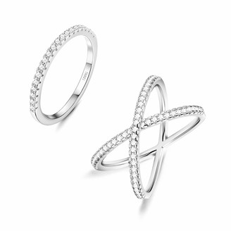 Fansilver 925 Sterling Silver X Criss Cross Stackable Ring Set Cubic Zirconia CZ Eternity Band Engagement Rings Size 5-9
