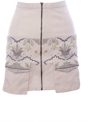 Imaima Niala Hand-Embroidered Skirt In White