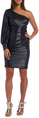 Night Way Nightway Short One-Sleeve Shimmer Metallic Knit Cocktail Dress