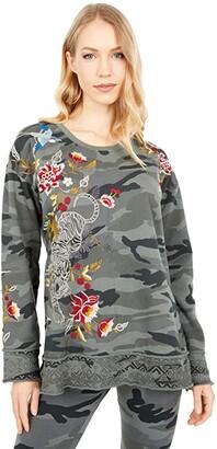 Johnny Was Anzia High-Low Pullover Sweatshirt (Light Moss Camo) Women's Clothing