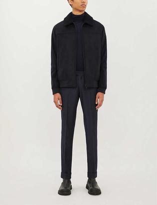 Corneliani Shearling and suede bomber jacket