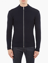 S.N.S. Herning Navy Ribbed Zip-Down Cardigan