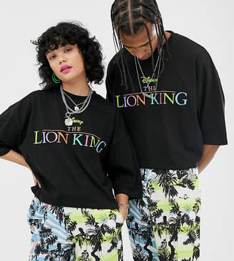 Asos Design Disney The Lion King x DESIGN unisex oversized cropped t-shirt with rainbow logo-Black
